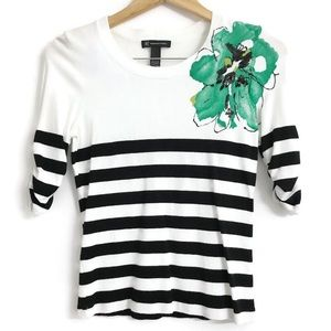 INC Stripe Flower Embroidered Top Q0378
